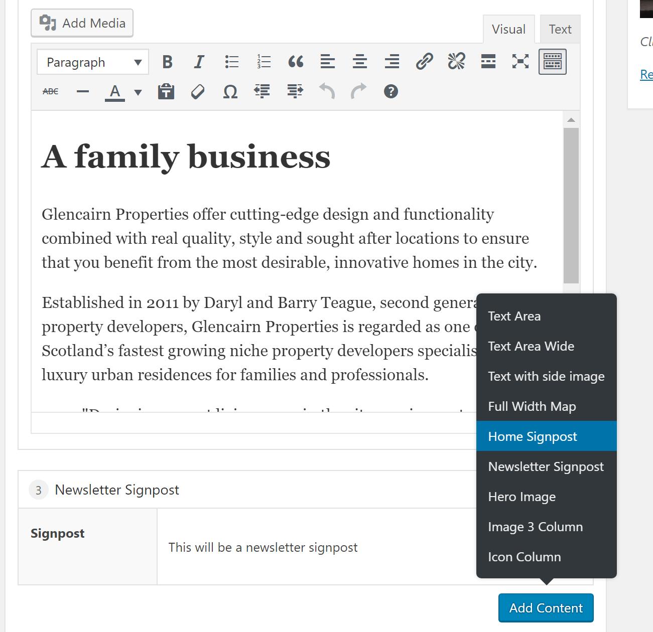 Wordpress using flexible content in admins