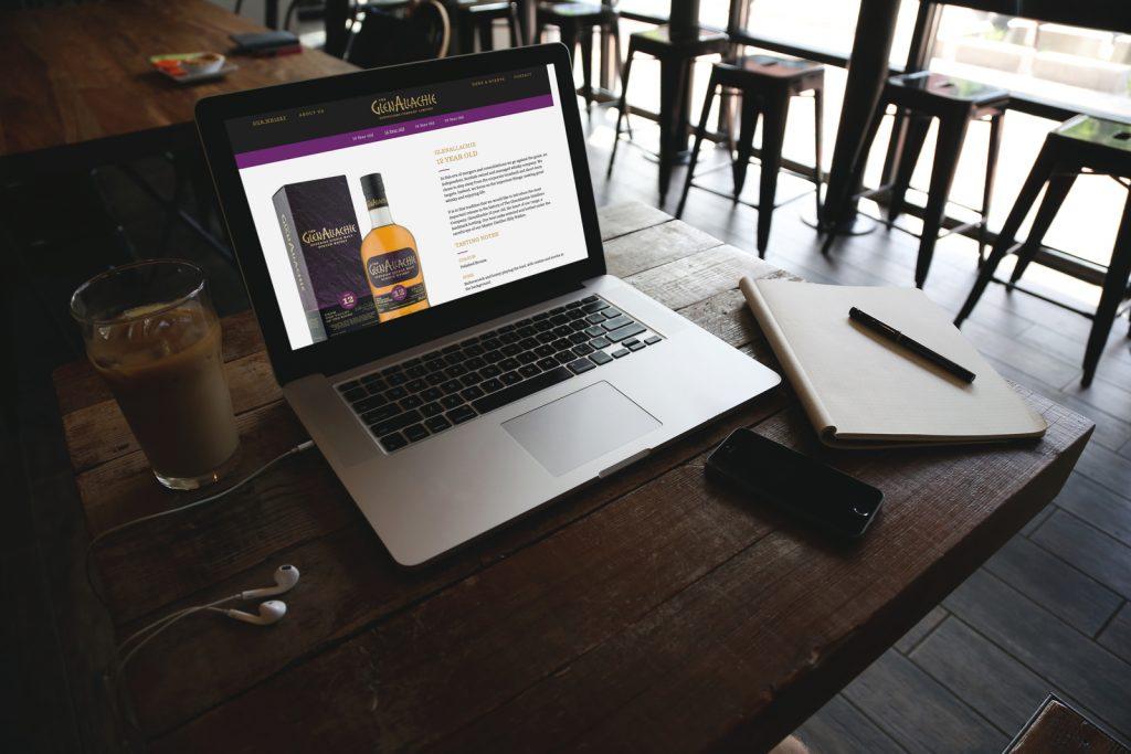 GlenAllachie whisky website on a laptop